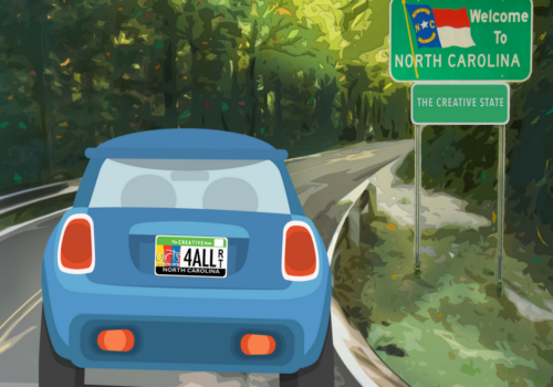 Car with Arts License Plate